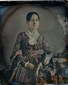 Pastel-Tinted Lady, Scovill 1/6th-Plate Daguerreotype, Circa 1848