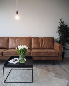 Finally, brown leather couch #sixbondstreet #interior #livingroom