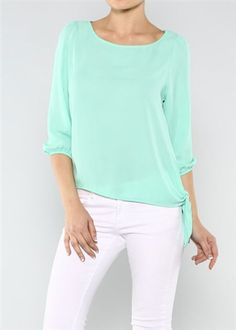 Side Tie Blouse in Mint... Love the combination of the top and the white jeans