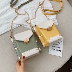 New Small Bag Female New Contrast Color Rivet Shoulder Bag Fashion Wild Chain Slanting Small Square Bag is designer, see other cute bags on NewChic. Cheap Purses, Cute Purses, Cheap Handbags, Cheap Bags, Purses And Handbags, Luxury Handbags, Dior Purses, Spring Handbags, Spring Bags