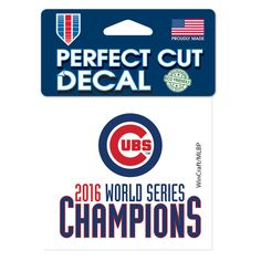 "Chicago Cubs 2016 World Series Champions 4"" x 4"" Perfect Cut Colored Decal  #ChicagoCubs #Cubs #FlyTheW #WorldSeries SportsWorldChicago.com"