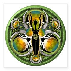 "Goddess of the Green Moon Square Sticker 3"" x 3"""