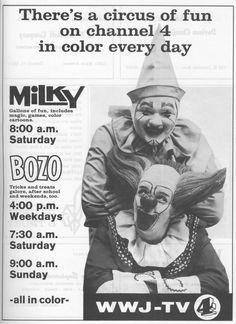 Milky the Clown and Bozo. I loved Bozo! State Of Michigan, Detroit Michigan, Flint Michigan, Great Memories, Childhood Memories, Famous Clowns, Bozo The Clown, Detroit History, Detroit Area