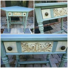 Shabby Paints Baby Boo, Alamo, and Hazelnut Revax. This was created by one of our customers. White Chalk, Furniture Makeover, Reuse, Repurposed, Entryway Tables, Recycling, Shabby, Creative, Painting