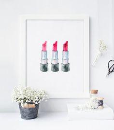 3 Watercolor Lipstick Printable Lipstick Wall Art Makeup