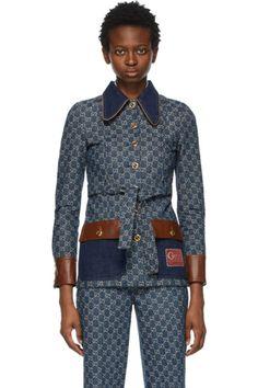 Designer Clothes, Shoes & Bags for Women | SSENSE Gucci Denim, Textile Logo, Leather Jeans, Wool Coat, Stretch Denim, Blue Denim, Suit Jacket, Dark Blue