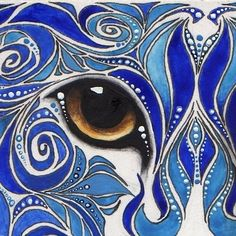 Reproduction ACEO Blue Swirl Cat Painting by Parrish on Etsy, $5.00