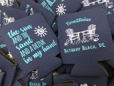 Love EVERY bit of this KOOZIE!  2 colors, beach chairs, sun and sand! #sunandsand #beach #koozies #weddingfavor #wedding   Use code Pinterest at checkout for 15% off Bethany Beach, Wedding Koozies, Girls Weekend, Beach Chairs, 2 Colours, Getting Married, Colorado, Sun, Aspen Colorado