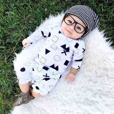 Spring 2016 Unisex Newborn Baby Boys Girls Symbol Cotton Clothes Rompers 0-24M