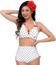 6c48f14571f74 Feel like a 1950s retro diva when you wear this white dot Casablanca swim  top from