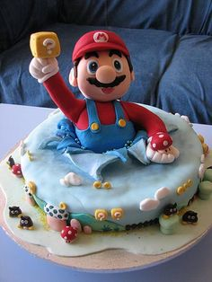 I want this to be my birthday cake! Check out the goombas on the side of the cake. :)