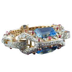 Superb Retro Aquamarine Diamond Ruby Gold Bracelet - James Robinson Inc Antique Bracelets, Antique Jewelry, Bangle Bracelets, Vintage Jewelry, Bangles, Art Deco Jewelry, Bling Jewelry, Jewelry Design, Ruby Jewelry