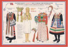 MARGIT the Bride, traditional Norwegian paper dolls Folk Costume, Costumes, Paper Art, Paper Crafts, Foam Crafts, Norway Viking, Visit Norway, Thinking Day, Vintage Paper Dolls