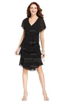 A-Line/Princess V-neck Short/Mini Chiffon Mother of the Bride Dress - IZIDRESSES.com at IZIDRESSES.com