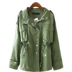 Chicnova Fashion Short Parka Coat ($34) ❤ liked on Polyvore featuring outerwear, coats, lapel coat, green parka, wool coat, green coat and woolen coat