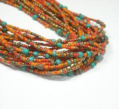 Boho Seed Beaded Necklace  Multistrand Boho Jewelry  by epicetera
