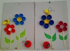 Mural de primavera clasificamos tapones por colores, reciclamos, creamos y nos divertimos