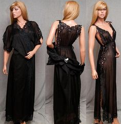 VINTAGE EVE STILLMAN ULTRA SHEER COTTON SEXY PEIGNOIR NIGHTGOWN LINGERIE SET #SomeLikeItUsed