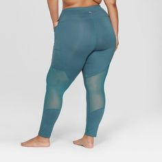 b79b0ba4d0d Women s Plus Size High-Waisted Comfort 7 8 Mesh Panel High-Waisted Leggings  - JoyLab Mediterranean Teal 3X