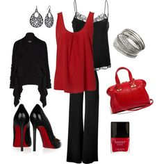 Business Casual~ Red & Black minus the high heels, I'd opt for flats. Work Fashion, Cute Fashion, Fashion Outfits, Womens Fashion, Fashion 2014, Pretty Outfits, Cute Outfits, Work Outfits, Look Office