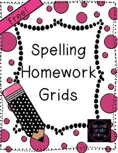 Free Spelling Homework Grids from Second Grade Smiles - Includes four unique spelling grids, each with twelve different spelling homework options that will engage all types of learners. Students choose one homework activity to complete each night, Monday through Thursday. A parent initials a box on the grid for each completed activity and students staple written work to the back of their grids before turning in on Friday. #freebie #spelling