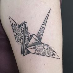 paper crane tattoo by @amybirdart