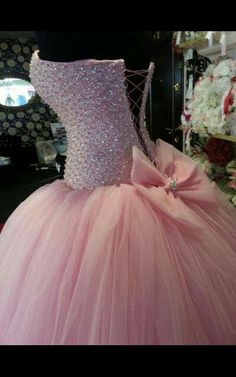 Beautiful pink poofy sparkly wedding dress