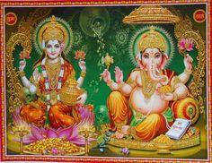 India Hindu Religious Print God & Goddess Lakshmi Ganesha With Glitter (R713)