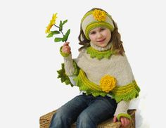 Set for girl / Poncho Headband and Wristwarmers 36 by iziknittings, $78.00