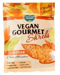 Cheddar Shreds. Soy free, dairy free, gluten free, lactose free, cholesterol free, vegan AND non GMO? Awesomeness!