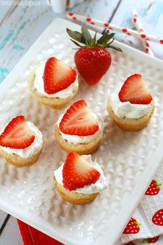 Strawberry Shortcake Sugar Cookie Cups | www.wineandglue.com | The amazing taste of strawberry shortcake in cute little cups!