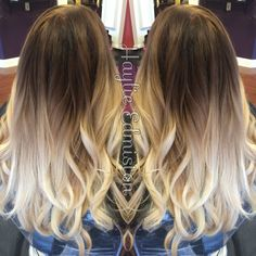 High contrast brown to blonde ombre! Obsessed with this look and the curls!