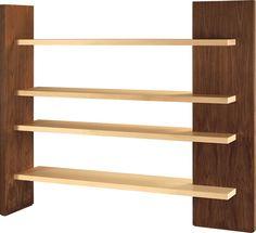 CARTESIA, freestanding bookshelf made of walnut and maple, by Franco Poli
