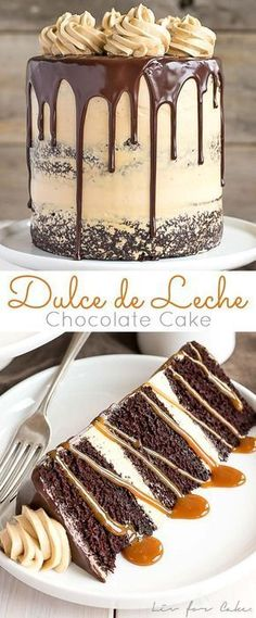The ultimate combo of chocolate and caramel come together in this delicious chocolate dulce de leche cake livforcake com 24 snazzy grown up adult birthday party ideas No Bake Desserts, Just Desserts, Delicious Desserts, Dessert Recipes, Yummy Food, Drip Cake Recipes, Food Cakes, Cupcake Cakes, Muffin Cupcake