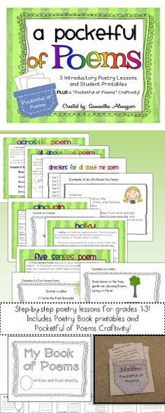 Teaching basic poetry has never been easier and more fun! This unit is created for students in grades 1-3 as a collection of mini-lessons for basic poetry. It's a fun way to introduce primary students to the world of poetry in small, easy-to-understand lessons and examples. Poems include Acrostic, All About Me, Cinquain, Haiku, and Five Senses.