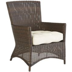 Our Sloan Collection of outdoor furniture has the right combination of old-fashioned comfort with a modern aesthetic. With a lightweight, rustproof aluminum frame covered in hand-woven, synthetic rattan, each piece will find its place in the sun—or the shade. Here, the wingback armchair, with a low, wraparound apron, is waiting for you to find the cushion that's right for you so you can make this seat your own.