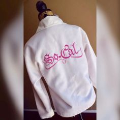White SoCal Jacket White w/Pink Embroidery SoCal Jacket by No Fear. Size Large. No Fear Jackets & Coats
