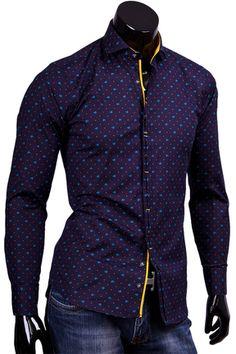 Купить Темно синяя приталенная рубашка фото недорого в Москве