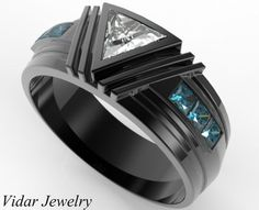 Men's Wedding Band - Black Gold Triangle Diamond Wedding Ring For A Men