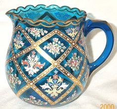 Antique 19th C Beautiful Moser/Bohemian Enamel Decoration Blue Glass Pitcher