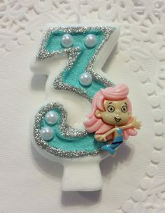 Molly Bubble Guppies Birthday Candle.  Can change colors.  First Birthday, Birthday, Cake topper, cup cake topper