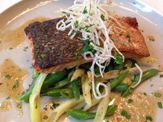 Brick over roasted Pacific Soy Salmon.