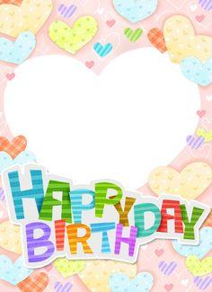 smile ♡ :) Happy Birthday Posters, Happy Birthday Frame, Birthday Frames, Birthday Board, Frame Border Design, Reward Stickers, Class Decoration, Birthday Design, Handmade Birthday Cards
