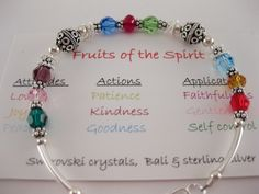 Fruits of the Spirit Bracelet Swarovski Crystals. by MarieODJ Christian Crafts, Christian Jewelry, Christian Bracelets, Bracelet Swarovski, Swarovski Crystals, Salvation Bracelet, Beaded Jewelry, Handmade Jewelry, Jewellery Diy