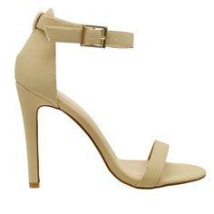 Charlie-1 Nude Open Toe Ankle Strap Single Sole Heels
