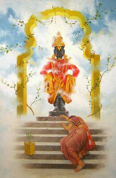 """Vitthal Bhakti"" a great Artwork by Artist Babu Awate Krishna Painting, Krishna Art, Krishna Love, Shiva Art, Shree Krishna, Radhe Krishna, Lord Hanuman Wallpapers, Indian Art Paintings, Oil Paintings"