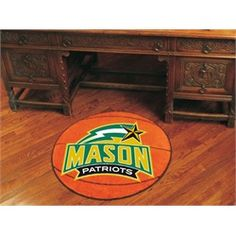 "George Mason University Basketball Floor Rug Mat  This round Patriots basketball rug is 27"" in diameter. Mat is chrome jet printed, allowing full penetration of the color down the entire tuft of the high luster nylon yarn in 16 oz face weight carpet. This FanMats product features non-skid Duragon latex backing and sewn serged edges. The result is a superior quality mat in vibrant team colors. Machine Washable."
