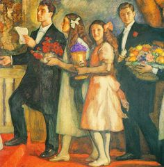 Leonid Pasternak's Children (1914) by Leonid  Pasternak (Russian:1862-1945) ....left to right: Boris, Josephine, Lydia, Alexander Pasternak. The occasion was their parents' 25th wedding anniversary.