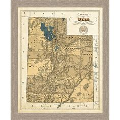 Bring a geographical element to your decor with this framed map of Utah. This rustic giclee reproduction features topographical features of the twisting rivers and rough terrain of the great state. Gi