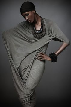 Sleeveless angle dress from the Elements || collection by Donna Karen. I think this would be an extraordinary dance outfit; makes me think of Martha Graham. :)